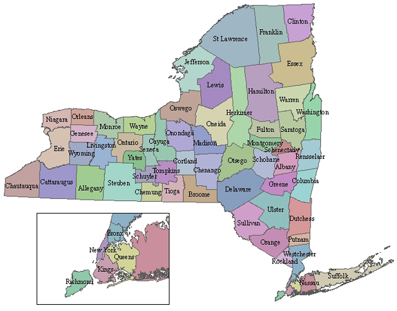 State Map Of New York.Criminal Justice Agency Directory For New York State Ny Dcjs