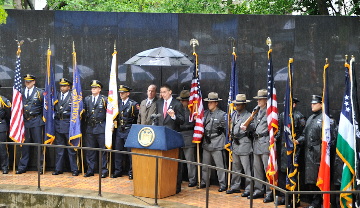Lt. Governor Robert J. Duffy speaks at the annual Police Officers' Memorial Remembrance Ceremony.